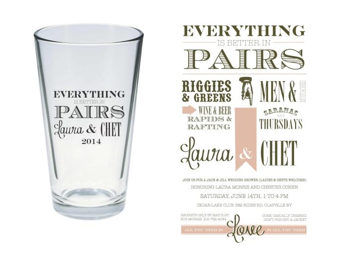 Cohen Wedding Glass and Invitation